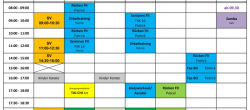 Übergangskursplan bis zum 28. Februar 2018
